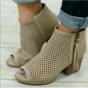 Shoes - Perforated Suede peep toe ankle booties - TAUPE
